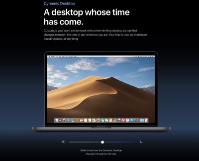 macOS Mojave sports a time-shifting wallpaper that changes through the day