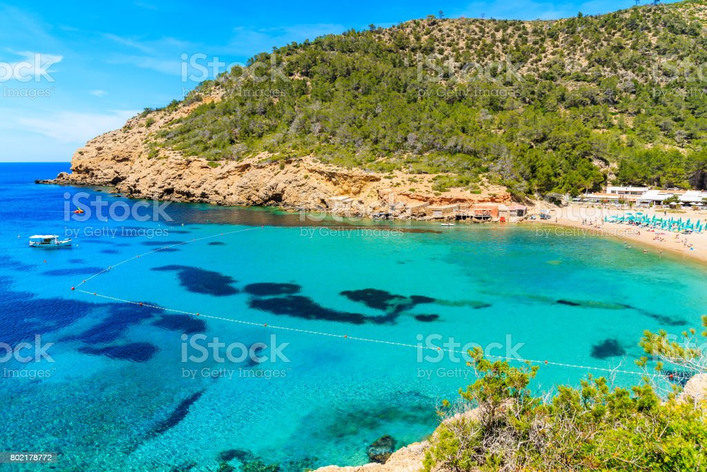 View Of Cala Benirras Beach With Turquoise Sea Water Ibiza Island     View of Cala Benirras beach with turquoise sea water  Ibiza island  Spain  royalty