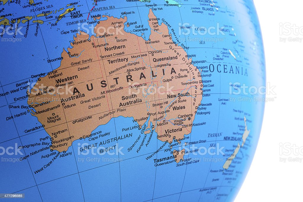 Royalty Free Map Of Tasmania Australia Pictures  Images and Stock     World Globe on Australia stock photo