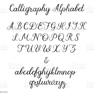 Calligraphic Alphabet Handwritten Brush Font Uppercase ...