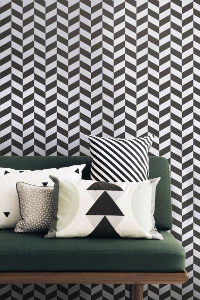 Angle Wallpaper - 1 roll - W 53 cm Black patterns / White ...