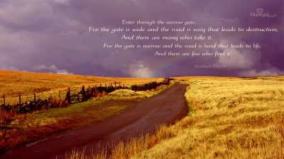 Matthew 7:13-14 - Bible Verses and Scripture Wallpaper for Phone or Computer