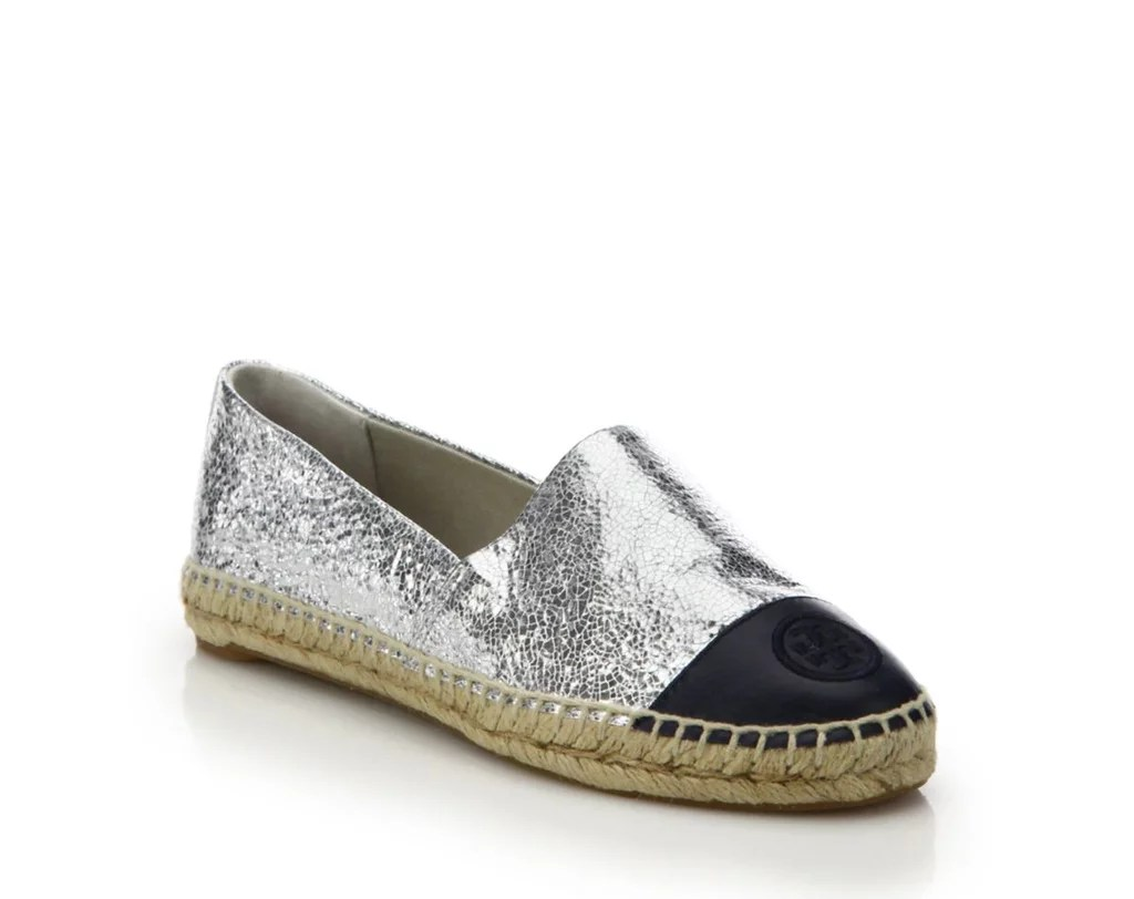 Comfortable Wedding Shoes Brides comfortable wedding shoes Tory Burch Crackled Metallic Leather Cap Toe Espadrille Flats
