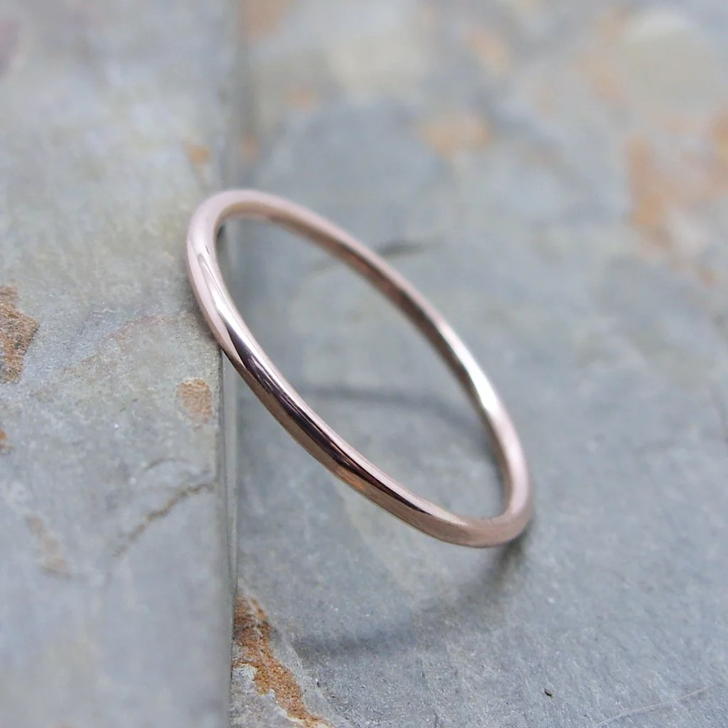 Best Wedding Bands From Etsy etsy wedding bands Simple Thin 14k Rose Gold Wedding Band