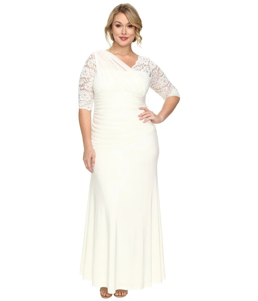 Plus Size Wedding Dresses melissa sweet wedding dresses Kiyonna s Elegant Aisle Wedding Dress offers a sophisticated cut for a daring bride