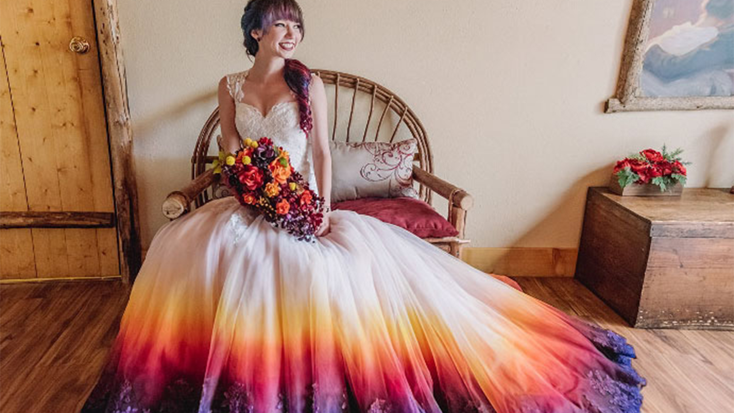 dip dyed colorful wedding dresses are new bridal trend t colorful wedding dress Dip dyed colorful wedding dresses are the new bridal trend TODAY com