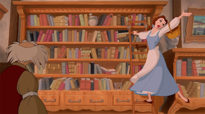 Belle reading books