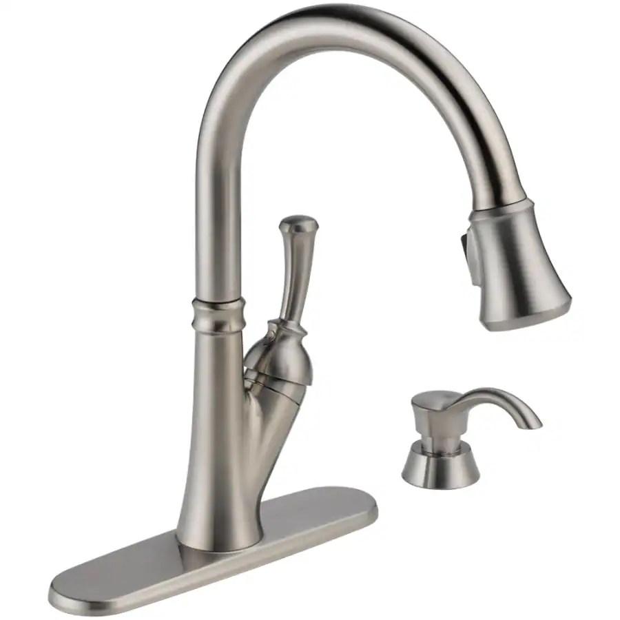 delta kitchen sink faucet delta cassidy kitchen faucet Shop Delta Signature Arctic Stainless 1 Handle Pull Out Deck Mount