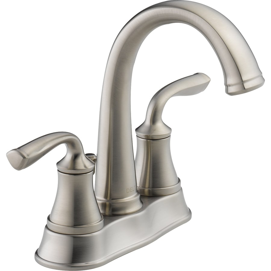 lowes bathroom sink lowes delta kitchen faucet Delta Lorain Stainless 2 Handle 4 in Centerset WaterSense Bathroom Faucet Drain Included Shop Delta