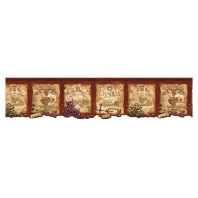 Shop Norwall Kitchen Style Wine Label Wallpaper Border at Lowes.com
