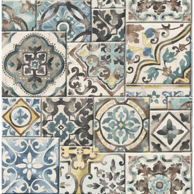 Shop Brewster Wallcovering Reclaimed 56.4-sq ft Teal Non-Woven Tile Wallpaper at Lowes.com