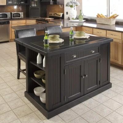 Shop Home Styles Black Midcentury Kitchen Islands 2-Stools ...