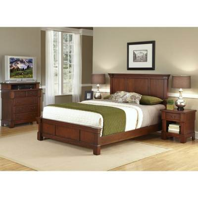 Shop Home Styles Aspen Rustic Cherry King Bedroom Set at Lowes.com