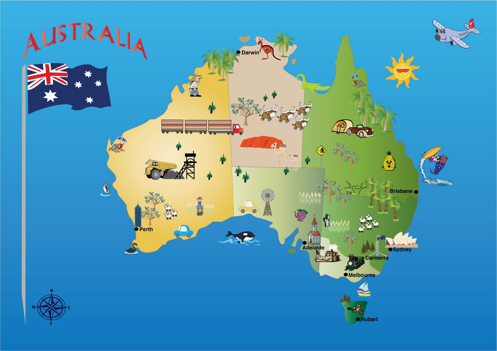 Australian map  flag and country facts Map of Australia  courtesy of Michelle s Creative Blog   http   kindofcreative