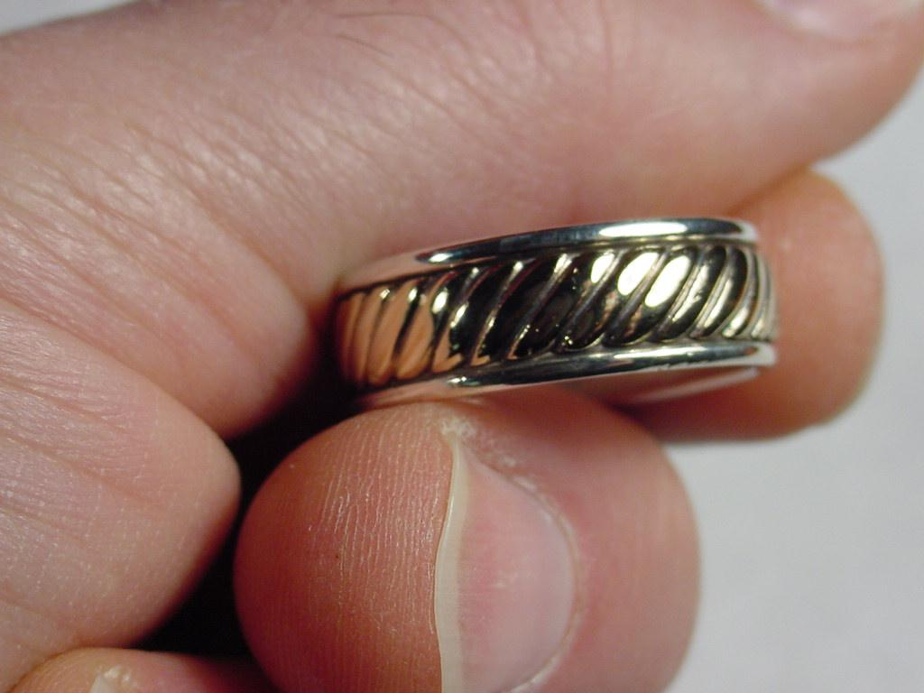 james avery wedding bands James Avery Silver SS 14K Gold Mens Wedding Ring Fluted Braided Rope Size 10