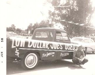 Low Dollar Joes  Powell Truck     Joe Duncan by his Powell Truck in 1958  Photo Courtesy of MyclassicNEWS com
