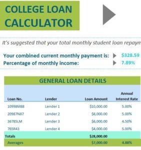 College Loan Calculator: MyExcelTemplates Loan Calculator