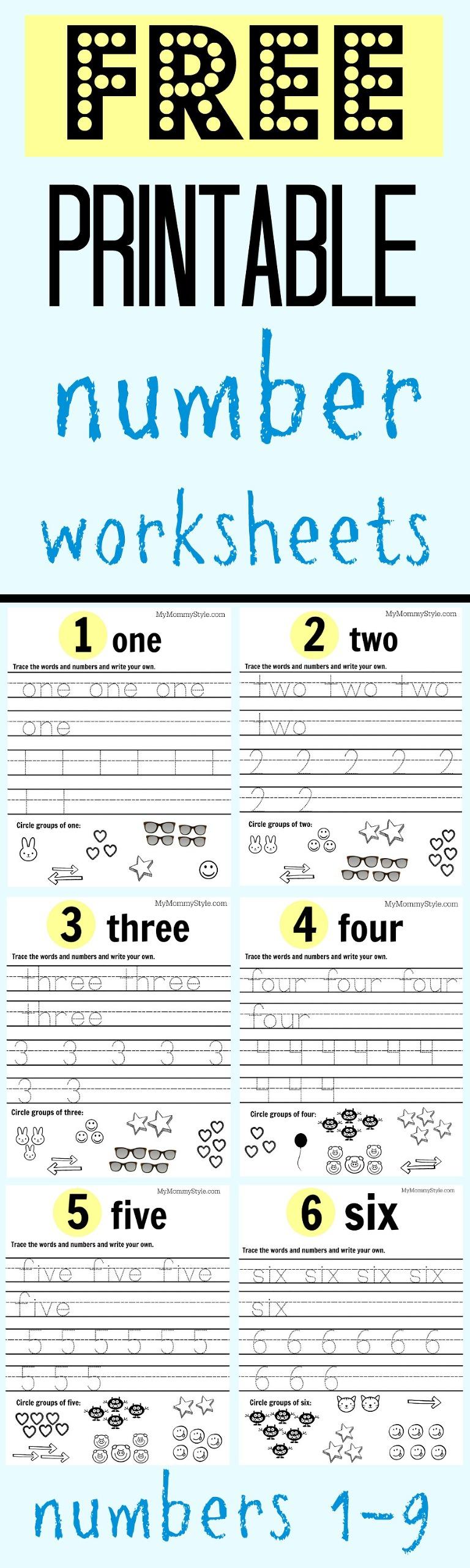 worksheet Free Number Worksheets free printable number worksheets 1 9 my mommy style numbers for preschool