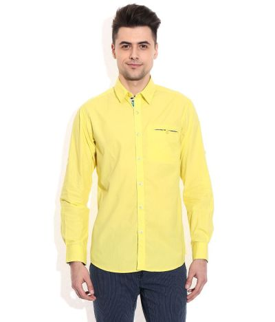 Wills Lifestyle Yellow Slim Fit Casual Shirt - Buy Wills ...