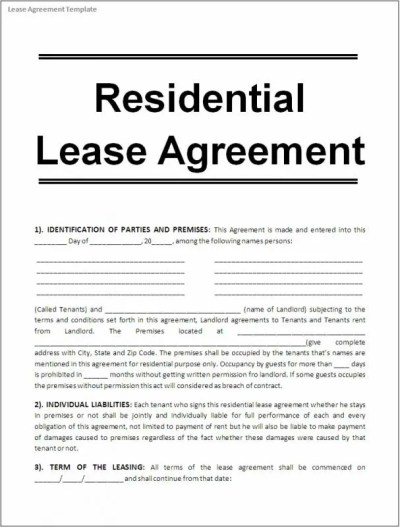 Printable Lease Agreement | Template Business