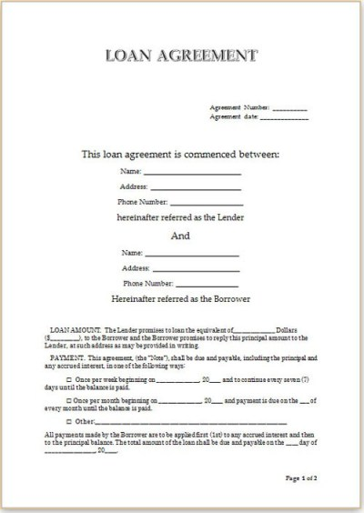 Simple Loan Agreement   Template Business