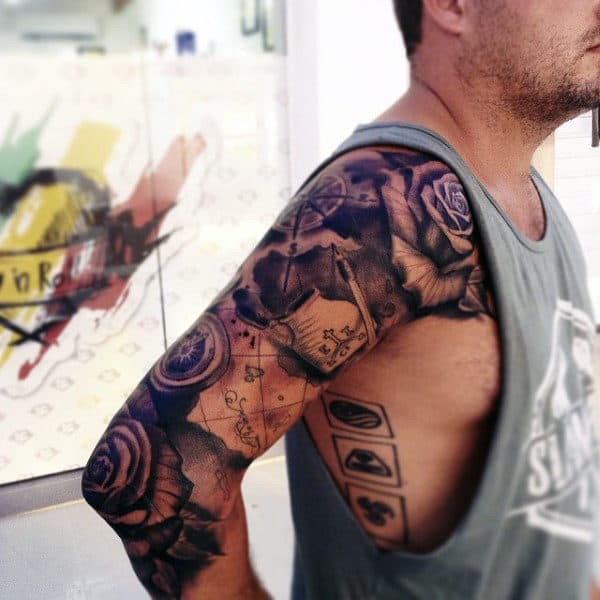 75 Travel Tattoos For Men   Adventure Design Ideas Full Arm Sleeve Travel Map With Rose Flowers Tattoos For Men