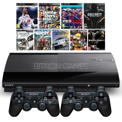 Sony PS3 SuperSlim Console 250GB Plus 2 Controllers & 12 Latest Games Includes FIFA 18 & PES ...