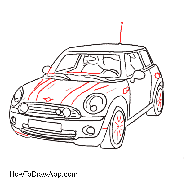 How to draw a car mini cooper classic