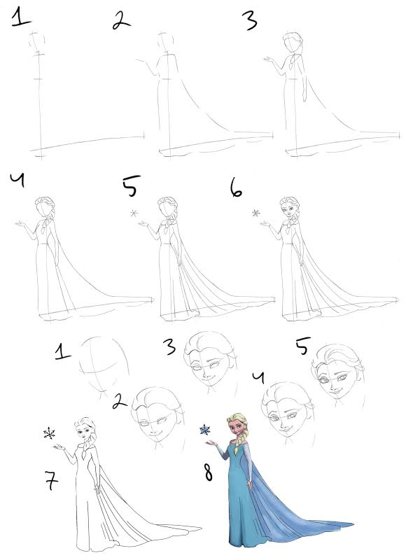 Elsa drawing easy steps