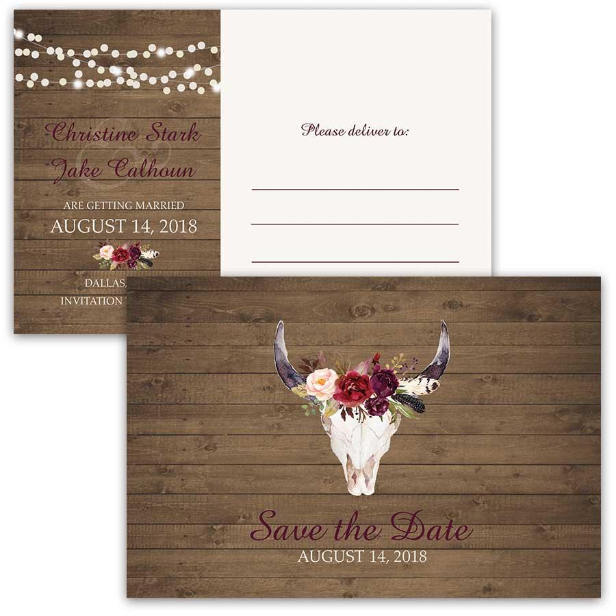 postcards skull wedding invitations Save the Date Cards Floral Deer Skull Antlers Burgundy