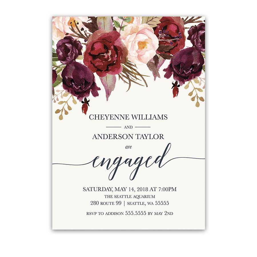 floral watercolor wedding invitations burgundy wine burgundy wedding invitations Floral Engagement Party Invitations Burgundy Wine Blush