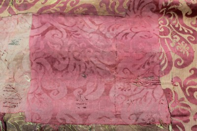 Pink damask patch no. 2 applied upside down from Spangled bed ©National Trust/Textile ...