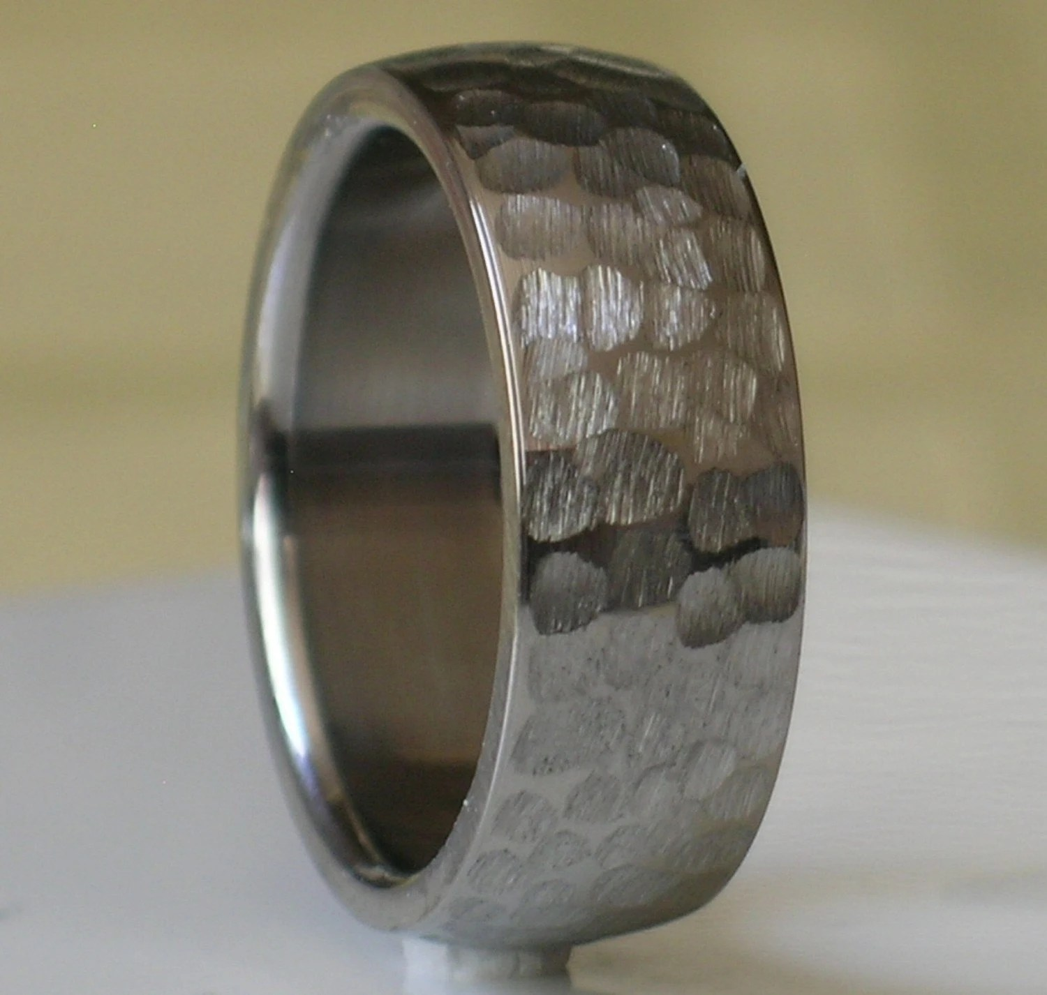 how to decorate wedding arches mens hammered wedding bands Titanium Wedding Band Comfort