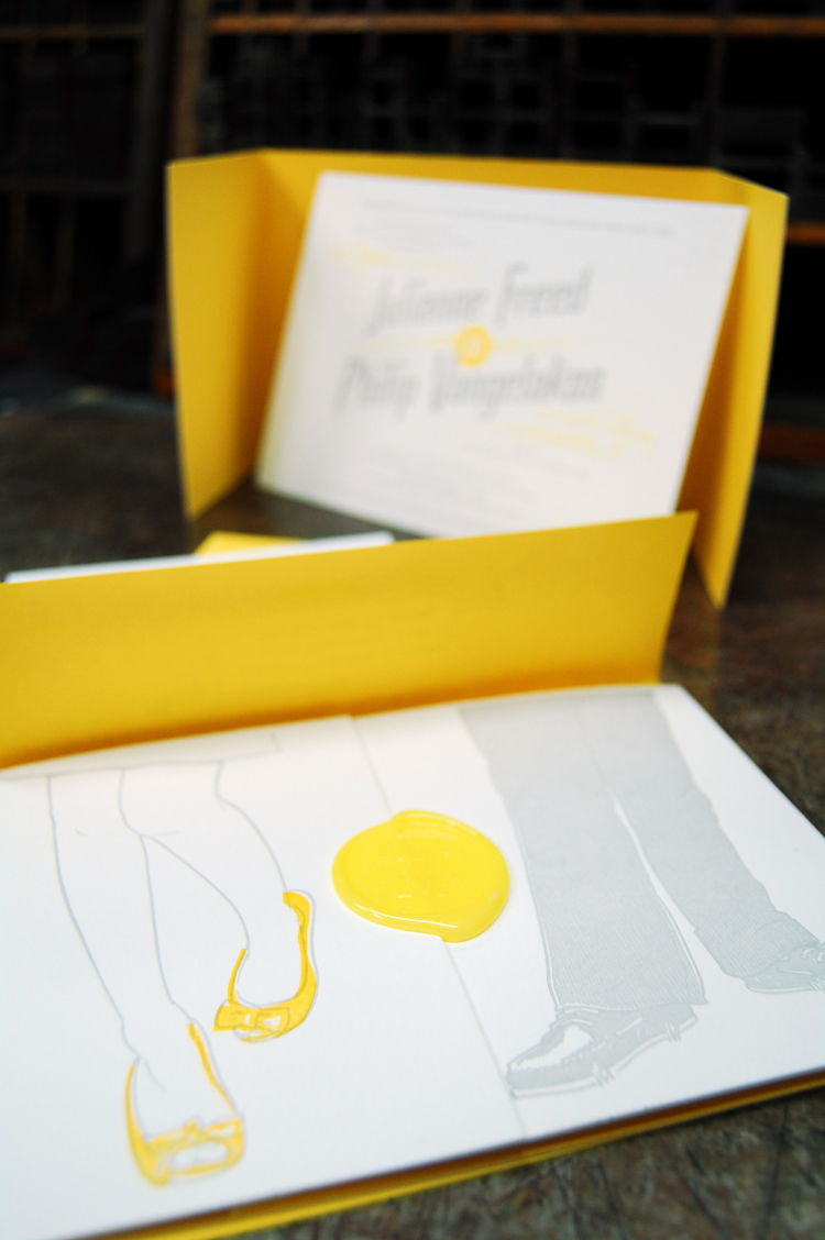 whimsical yellow and gray letterpress wedding invitations yellow wedding invitations A collaboration