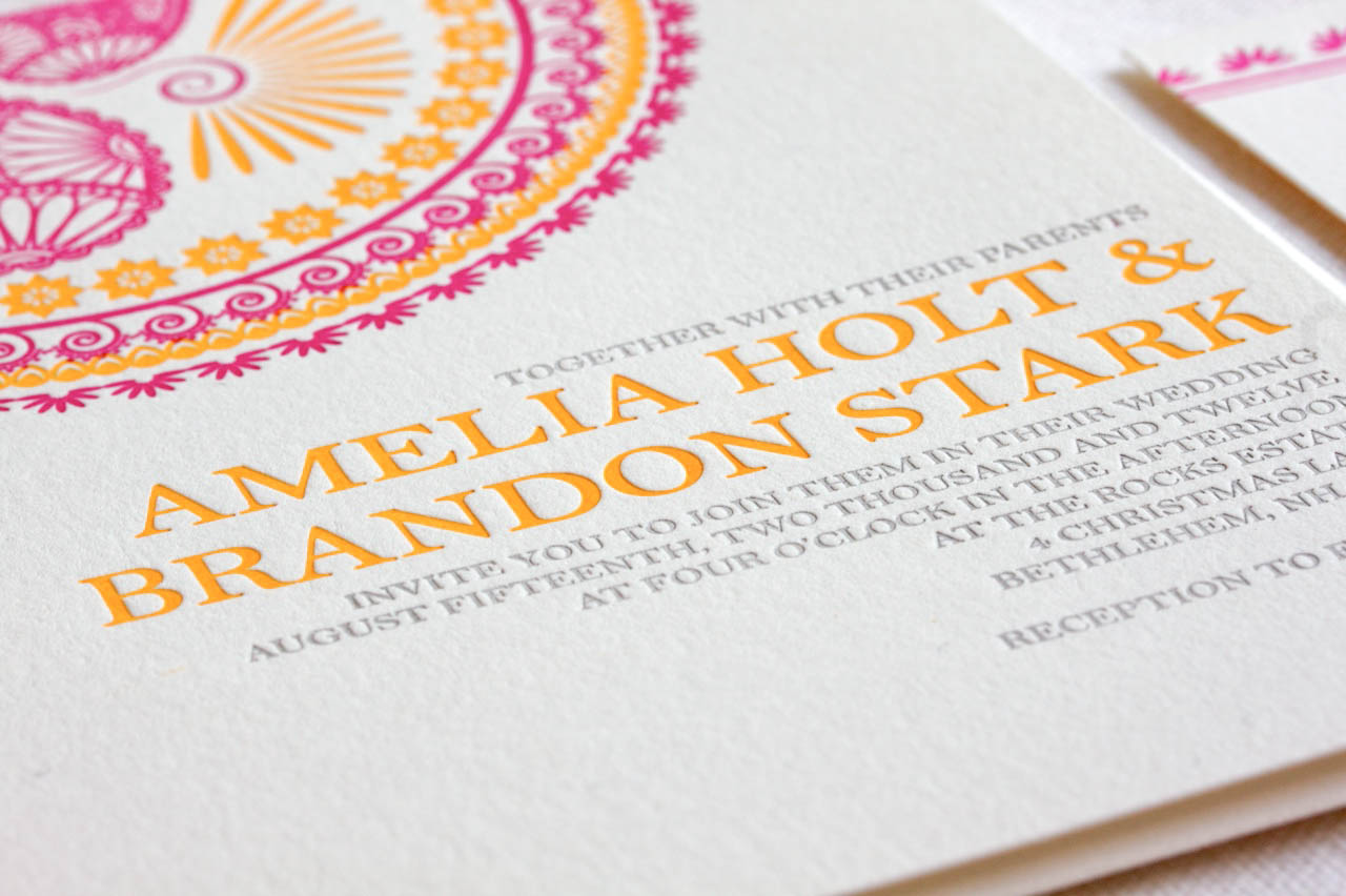 indian pattern letterpress wedding invitations indian wedding invitation