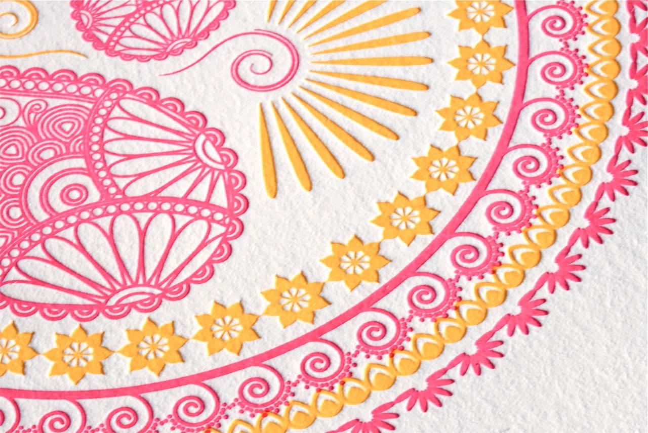indian pattern letterpress wedding invitations indian wedding invitation Thanks Sara
