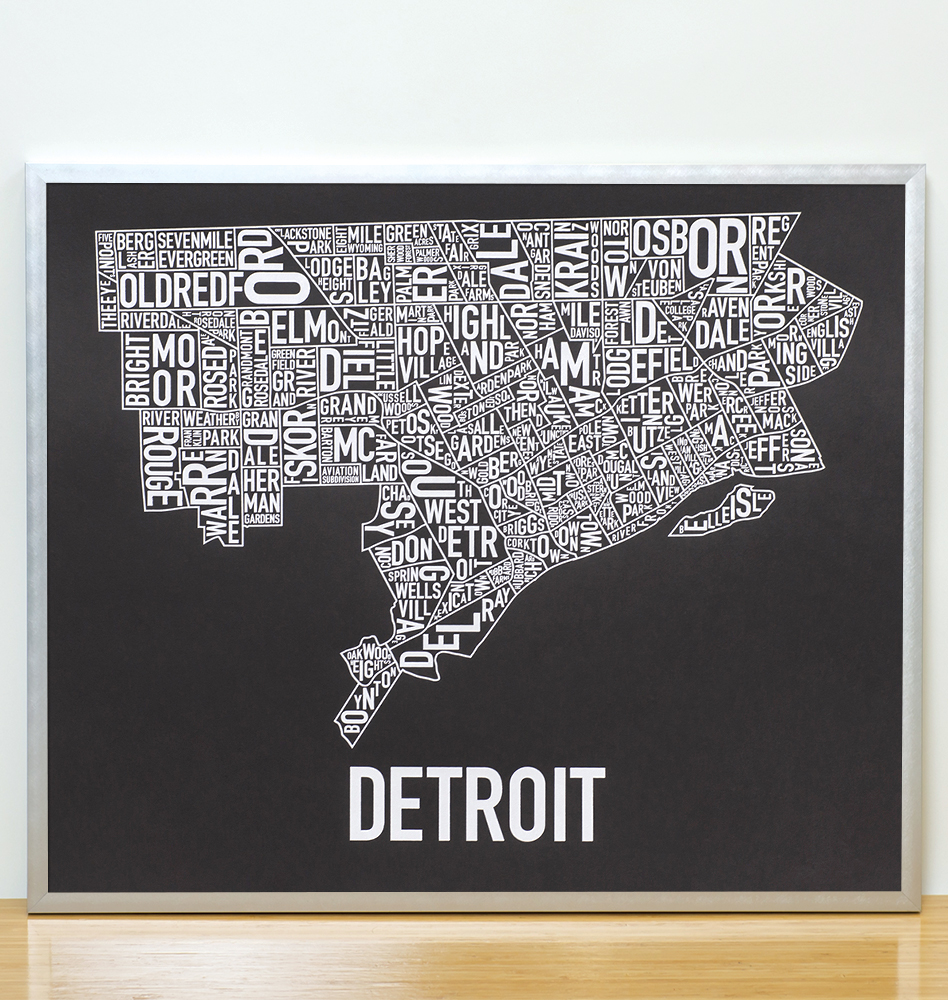 Detroit Neighborhood Map 24  x 20  Motor City Black Screenprint Detroit Neighborhood Map 24