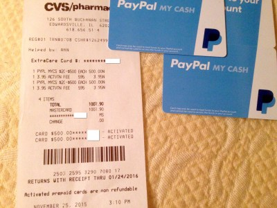 PayPal My Cash Cards With Credit Cards at CVS Still Working, but YMMV – OUT AND OUT