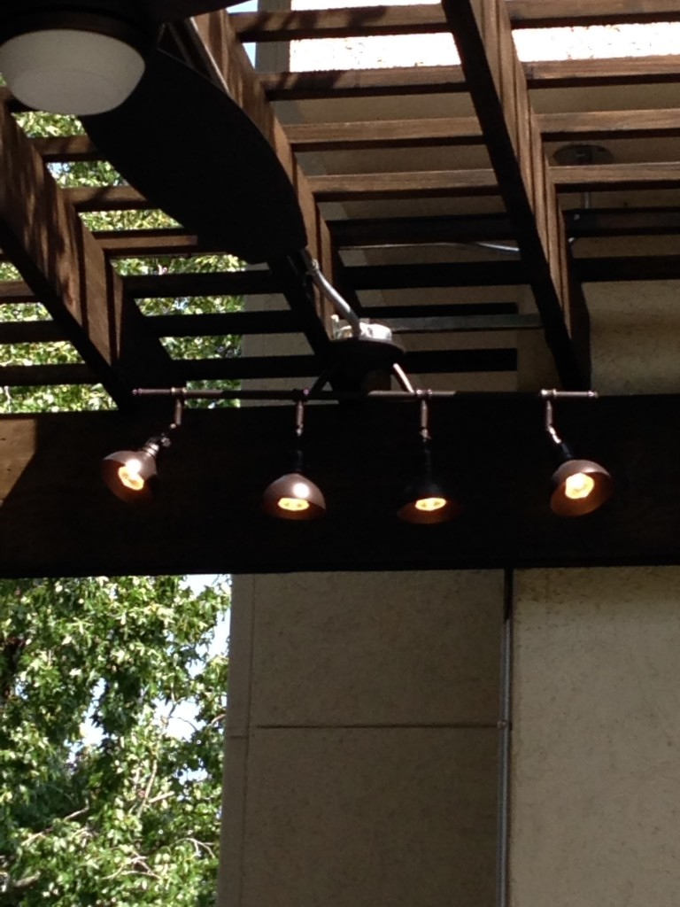 houston outdoor design concrete idea style outdoor kitchen lighting This image of outdoor track lighting by Restoration Hardware goes with a blog post on a