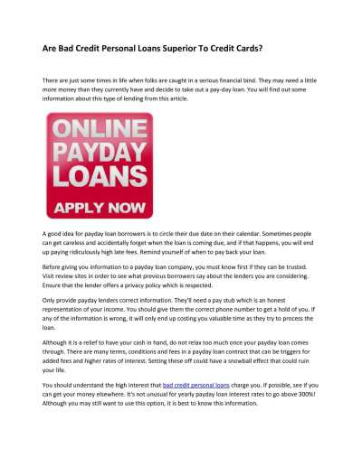 Calaméo - Bad Credit Personal Loans
