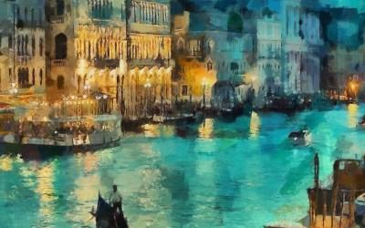 wallpaper for desktop, laptop   aq31-art-classic-painting-water-lake-night