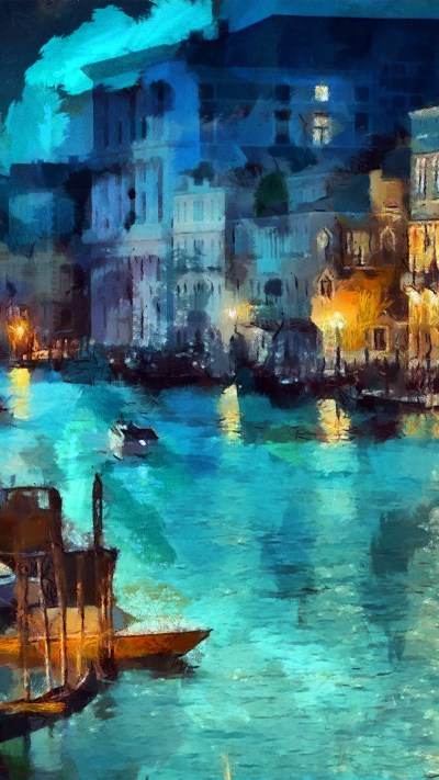PAPERS.co | iPhone wallpaper | aq32-art-classic-painting-water-lake-night-blue