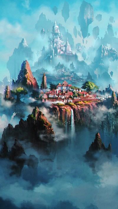 av36-cloud-town-fantasy-anime-liang-xing-illustration-art-green-wallpaper