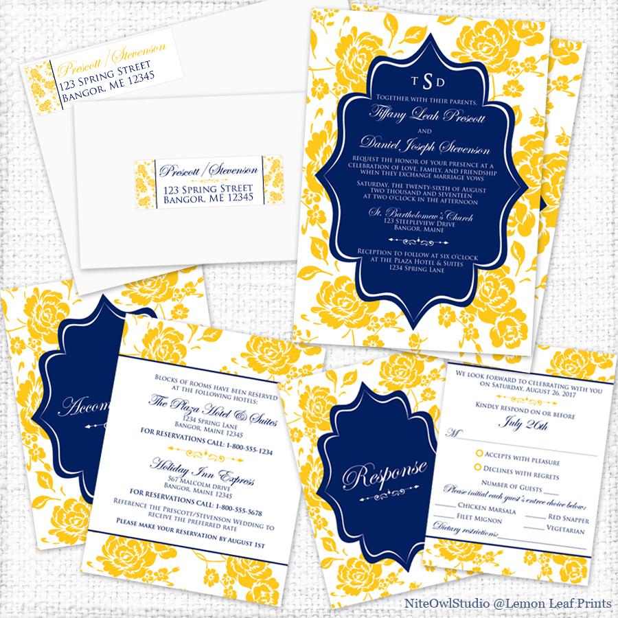yellow navy blue peony wedding invitation set yellow wedding invitations Party Simplicity Yellow Navy Blue Peony Wedding Invitation Set Party Simplicity