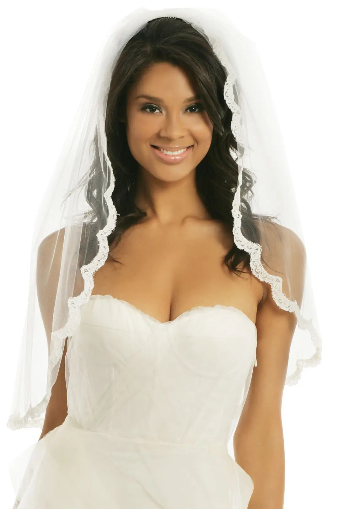 gossamer lace veil wedding dress accessories