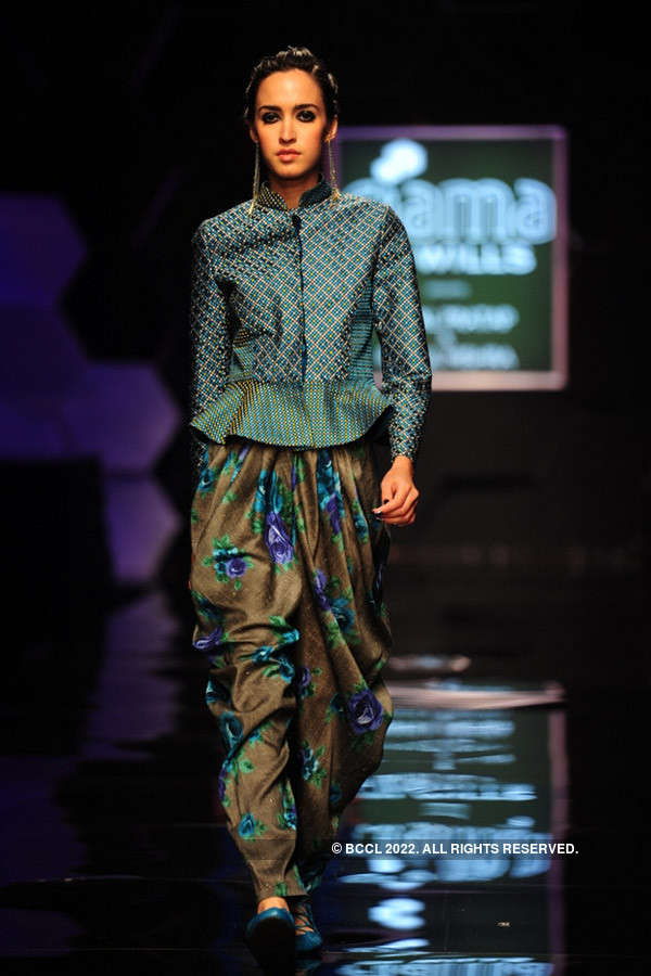 A model showcases a creation by designer Payal Pratap on ...