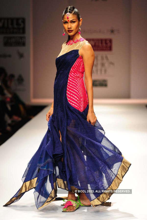 Model Nethra Raghuraman showcases a creation by fashion ...