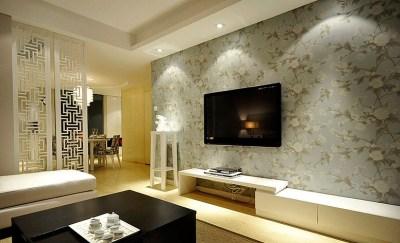 新中式电视背景墙壁纸图片_土巴兔装修效果图