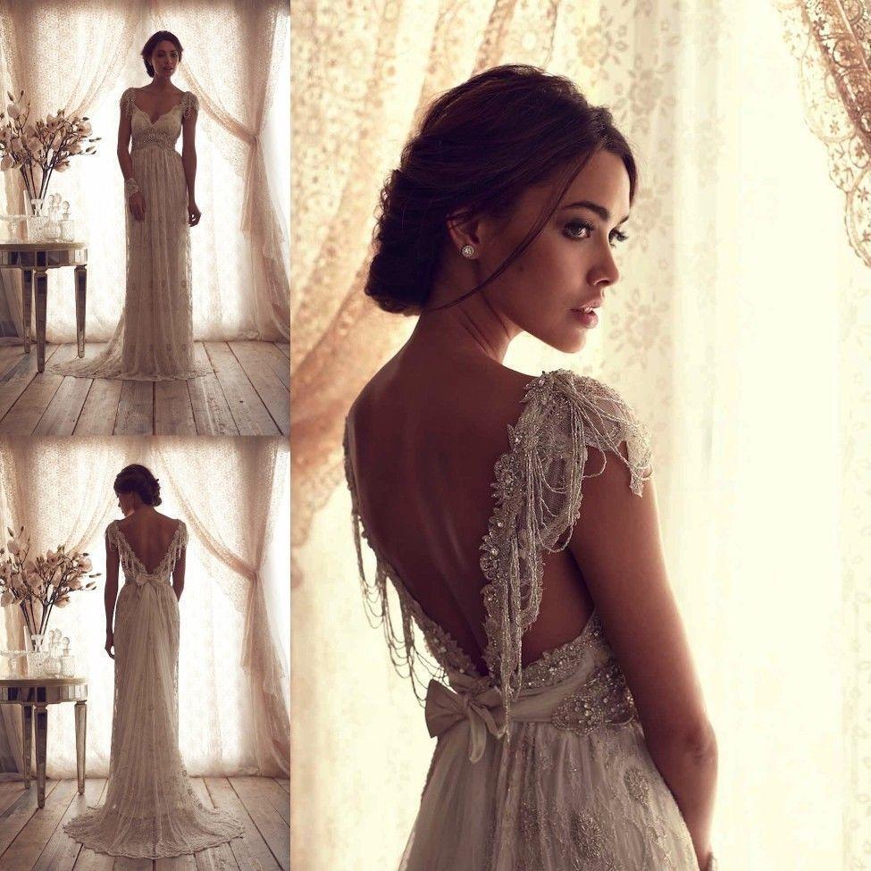lace backless wedding dress Anna Campbell Bridal Gown Ivory Lace Sexy V Backless Wedding Dresses Custom Size eBay