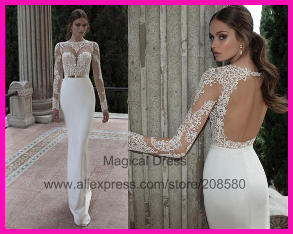 aliexpress wedding dresses See Through Muslim Lace Mermaid Long Sleeve Wedding Dress Bridal Gown Robe de Mariage W in